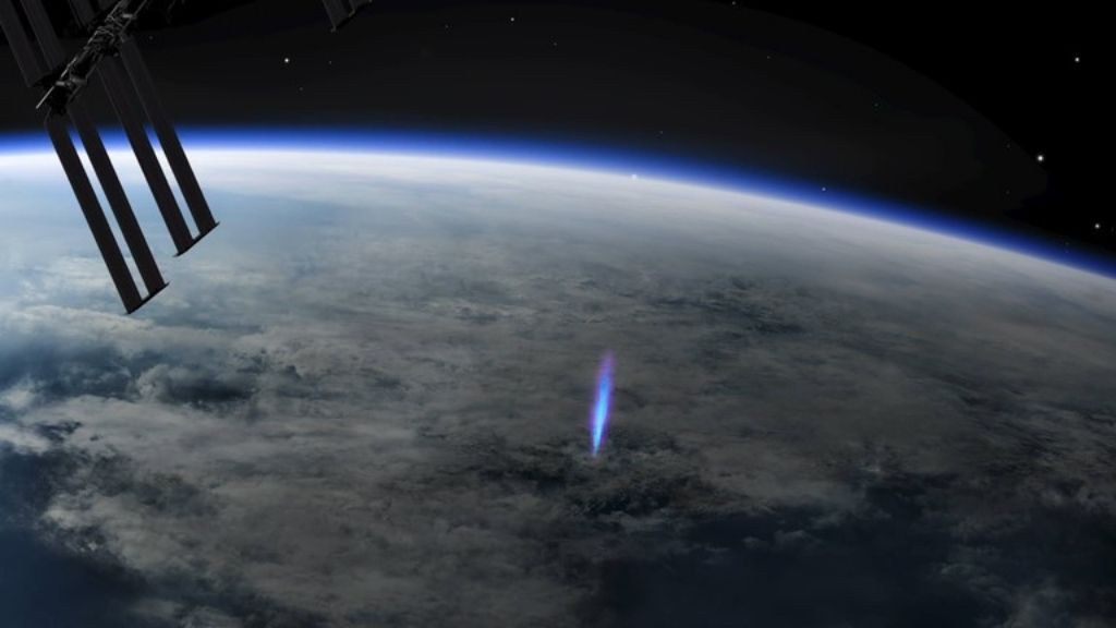'Blue Jet' lightning has been spotted ascending from the International Space Station