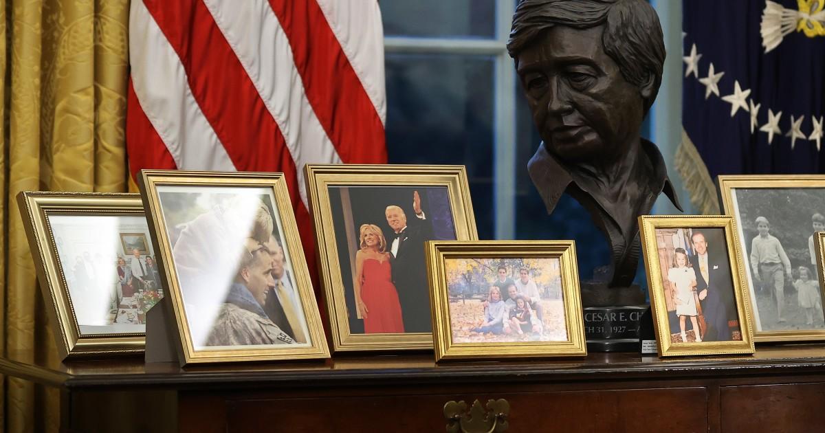 Joe Biden has a bust of Caesar Chavez in his Oval Office desk