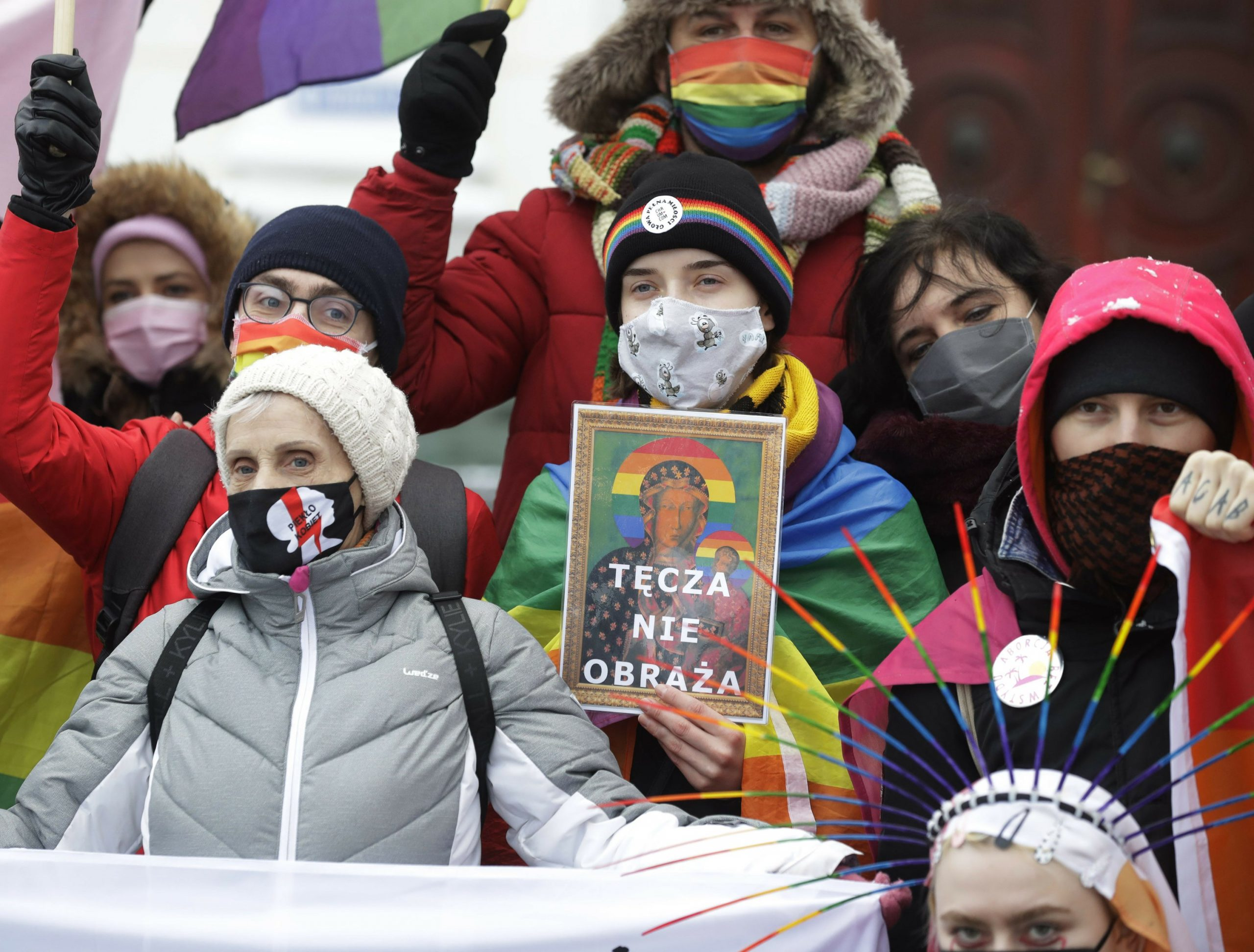 The sacrilege trial begins over LGBT rainbow placement on a Polish icon